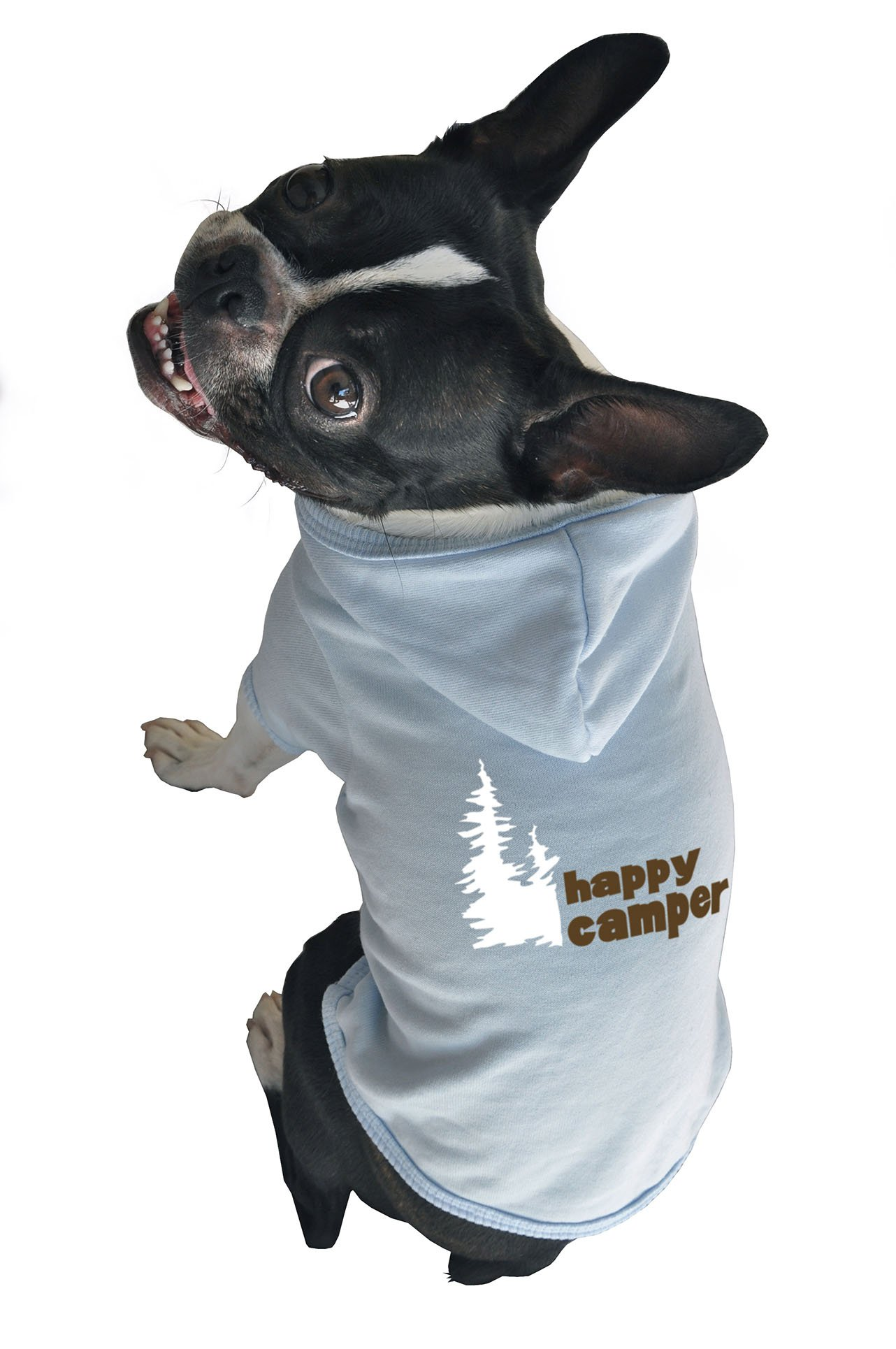 Ruff Ruff and Meow Dog Hoodie, Happy Camper, Blue, Large