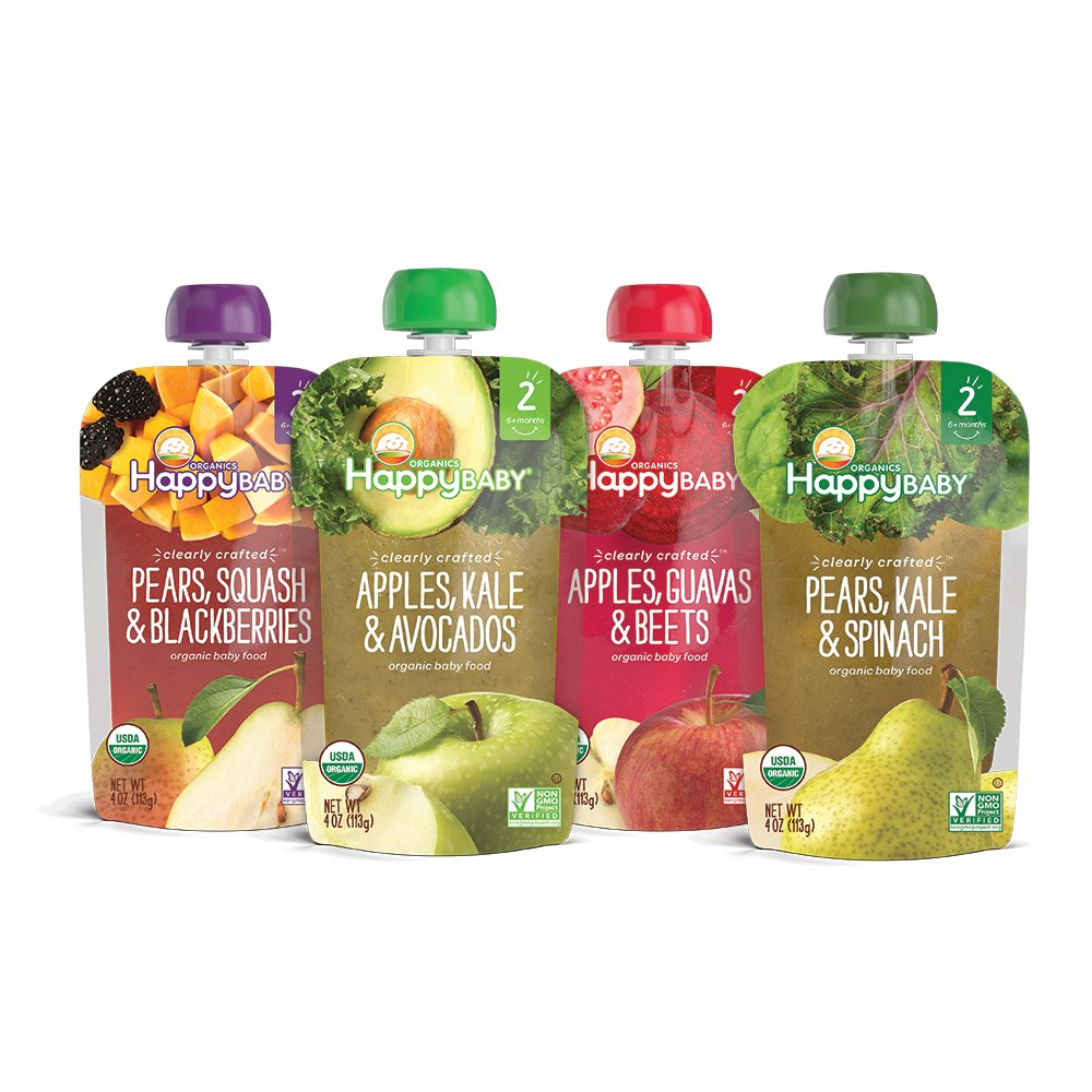 Happy Baby Organic Clearly Crafted Stage 2 Baby Food Variety Pack, Pear Squash & Blackberries, Apple Kale & Avocado, Apple Guava & Beet, Pear Kale & Spinach,4 Ounce Pouch (Pack of 16)
