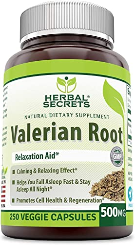 Herbal Secrets Valerian Root 500 Mg Veggie Capsules Non-GMO – Relaxation Aid* – Calming Relaxing Effect, Promotes Cell Health Regeneration* 250 Count