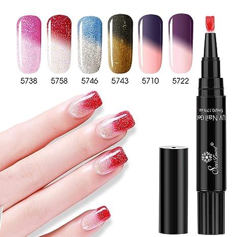 Saviland - Juego de 6 esmaltes de uñas de gel que cambian de color, se
