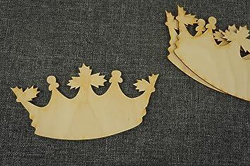 10x Prinzessin K/önigin Krone blank Holzschnitt Holz Basteln Malen Deko aus PLEXI Spiegeleffect