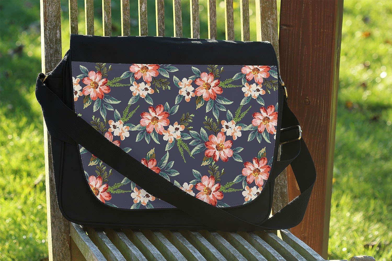 Cross Body Laptop School Work Bag Hawaiian Dark Flowers Messenger Bag