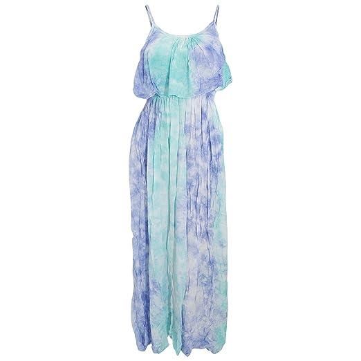 Womens Ladies Maxi Pastel Tie Dye Summer Dress At Amazon Women S