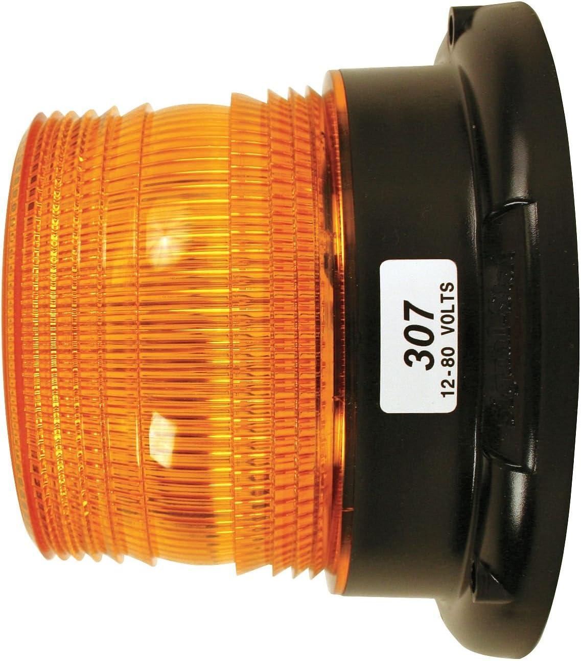 permanent mount 12-80 VDC Truck-Lite 307A Low Profile Strobe Light Yellow