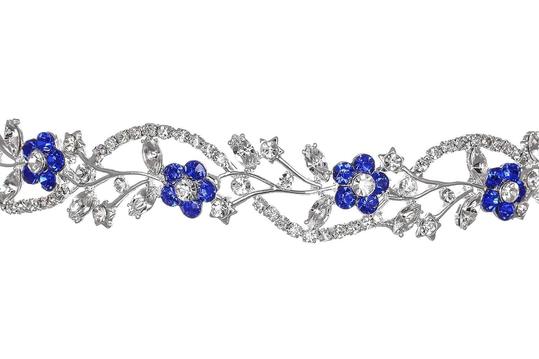 chain headpiece celebrity style wedding headpiece,silver sapphire blue crystal head Combo set earrings and Headpiece wedding head piece