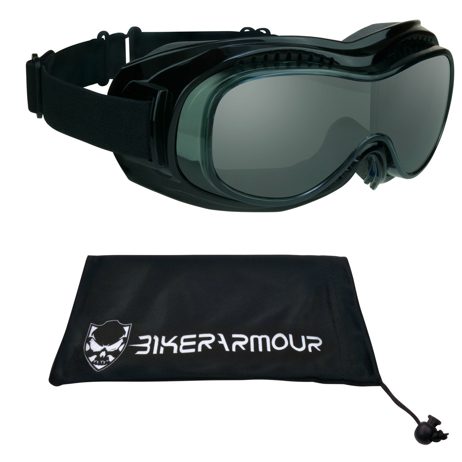 Motorcycle Safety Goggles Over Rx Prescription Glasses, Black Frames, Dual Foam