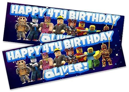 2 pancarta de cumpleaños personalizable Roblox Kids Party ...