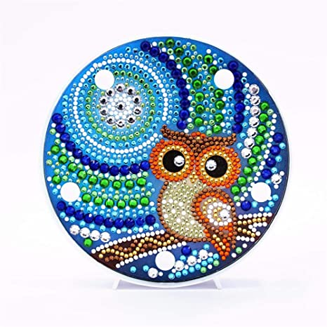 Embroidery 5D Resin Diamond Painting DIY Set w// Tools Gift Ornament Owl Blue