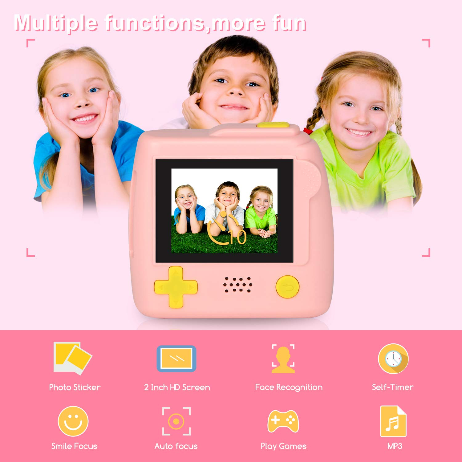 Kids Camera Gifts for 4-8 Year Old boys or girls, Great Gift Mini Child Camcorder for children with Soft Silicone Shell and 5 Mega pixel front lens 2.0 inch HD screen (32G TF card not included) by eyesen (Image #2)
