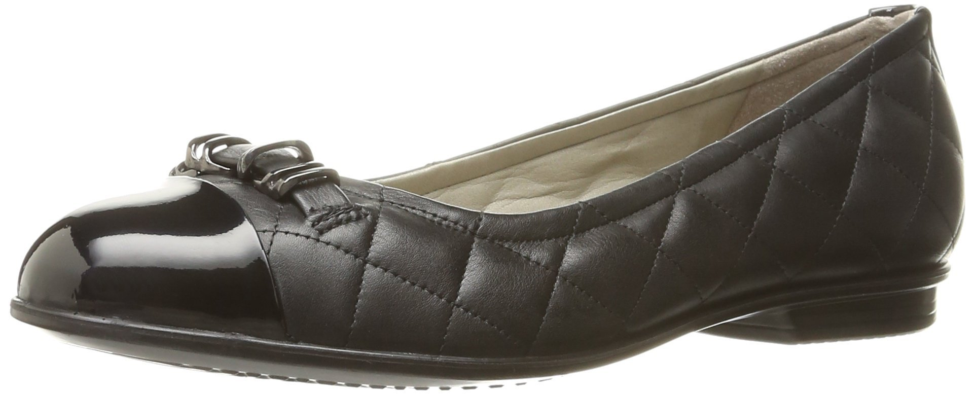 ECCO Footwear Womens Touch Quilted Ballerina Ballet Flat, Black/Black, 38 EU/7-7.5 M US