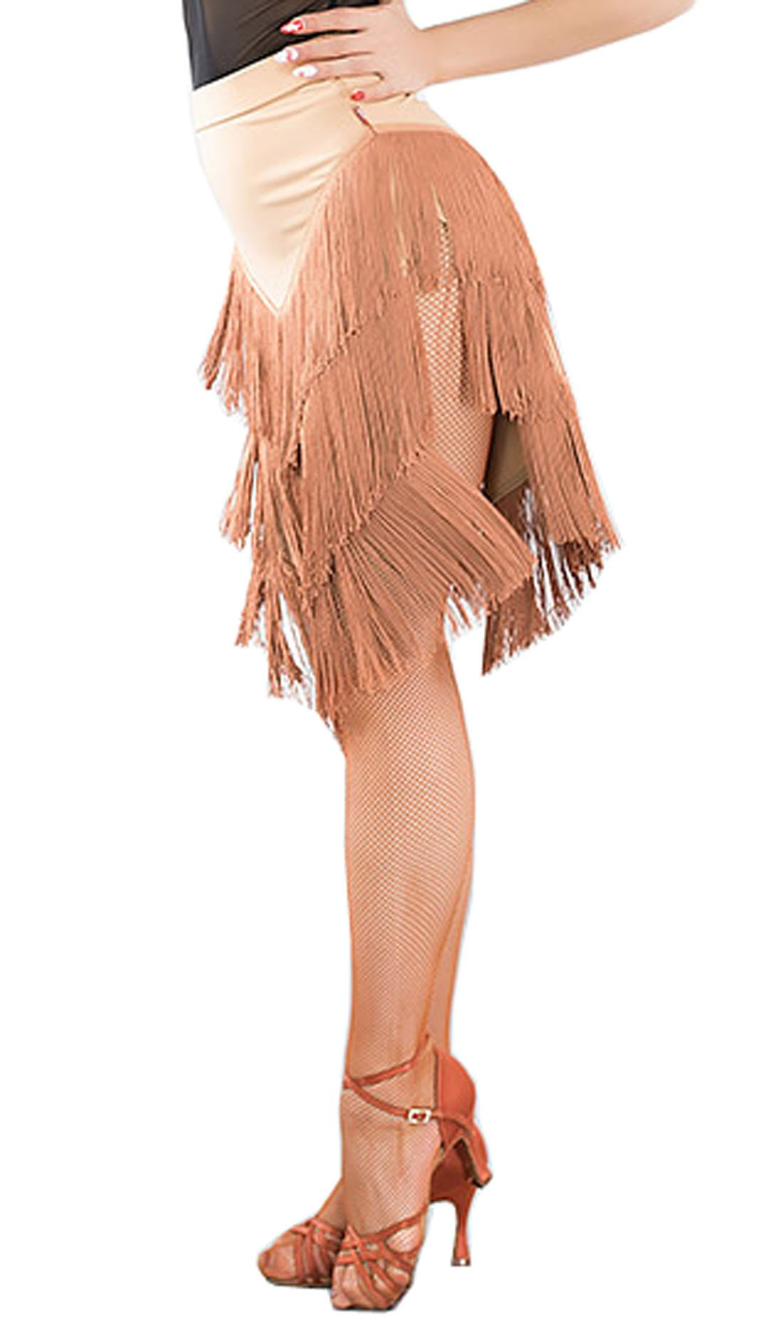Latin Skirt Tassel Skirt Cha Cha Skirts Ballroom Skirt Waltz Skirt Rumba Color of Skin M