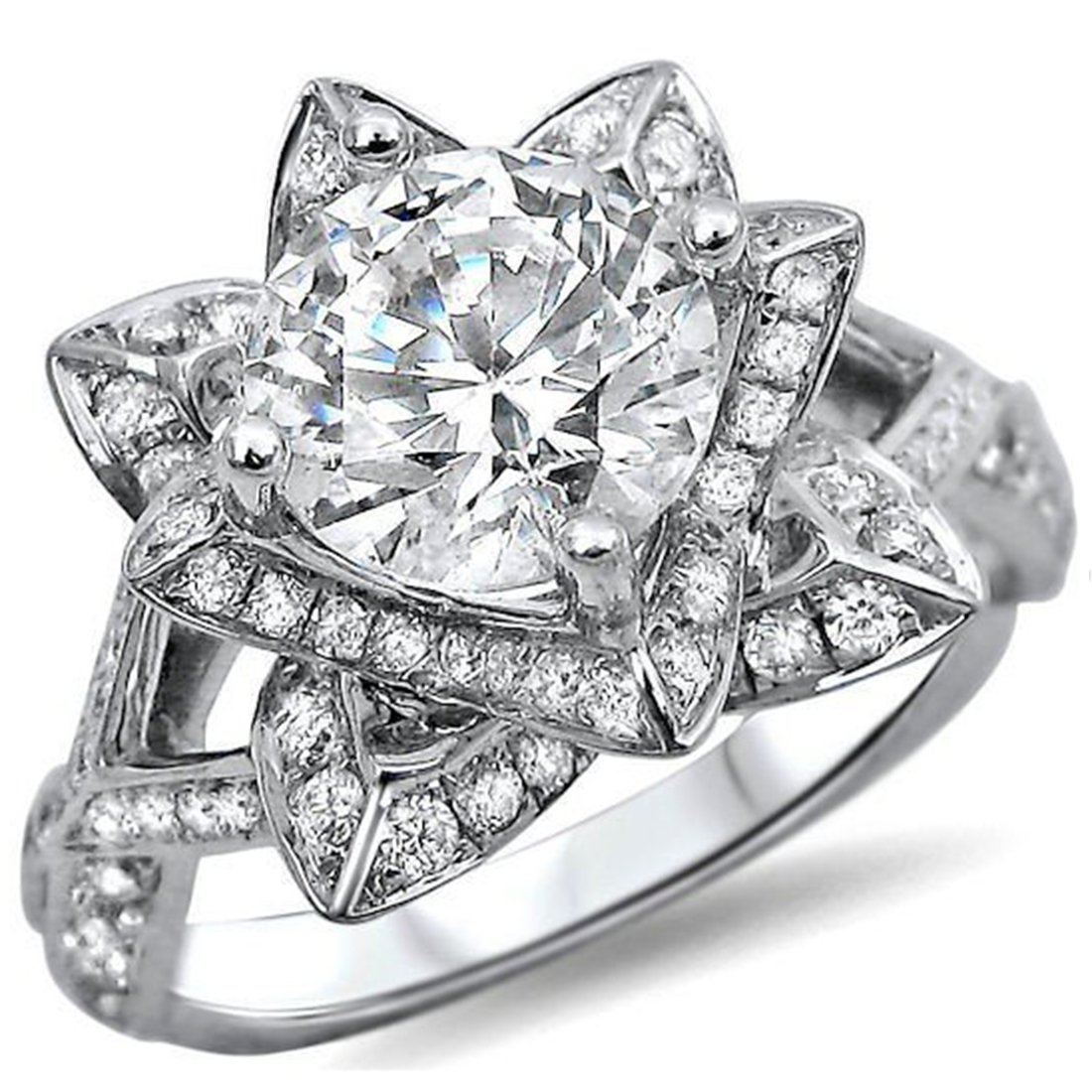 Smjewels 1.50 Ct Round Cut Lotus Flower Sim.Diamond Engagement Ring In 14K White Gold Plated