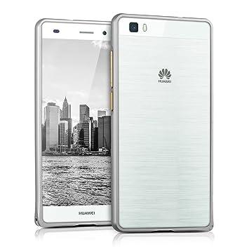 kwmobile Carcasa Bumper de Aluminio para el Huawei P8 Lite (2015) en Plata - Protección Extra Fina y Resistente para tu móvil