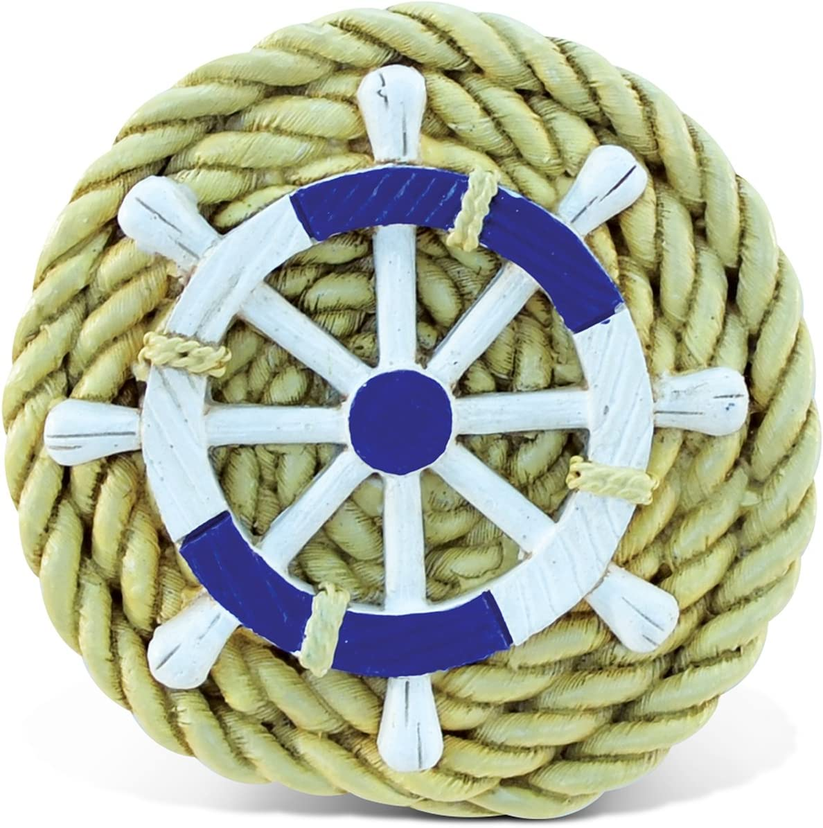 Puzzled Rope With Wheel Nautical Sign Magnet 5 White Blue Brown Kitchen Dining