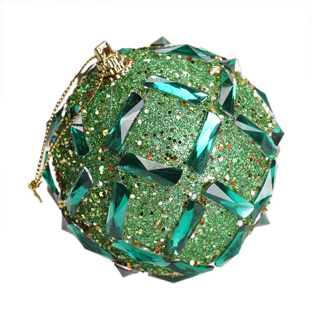 Livoty Christmas Ball Ornament Christmas Decorations Tree Balls Rhinestone Glitter Baubles Balls Tree Ornament Decoration (Green)
