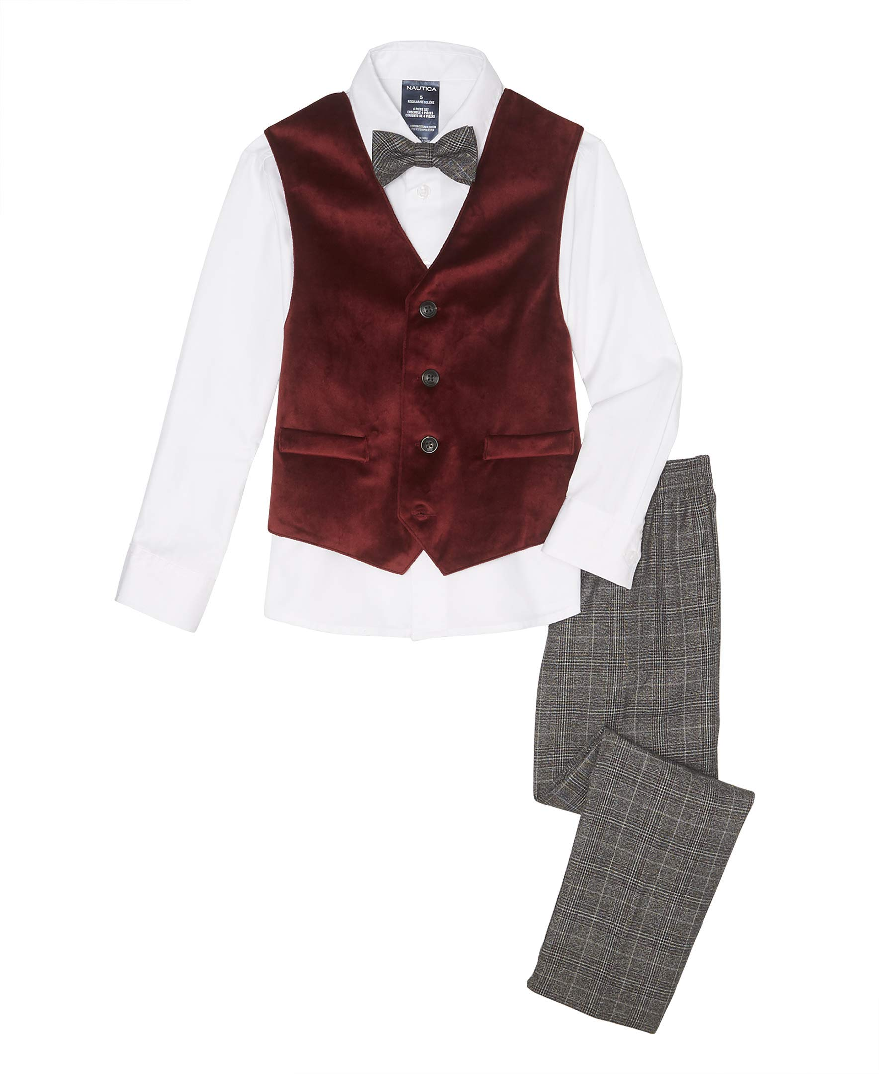 Nautica Boys' 4-Piece Vest Set with Dress Shirt, Bow Tie, Vest, and Pants, velvet dark red, 14
