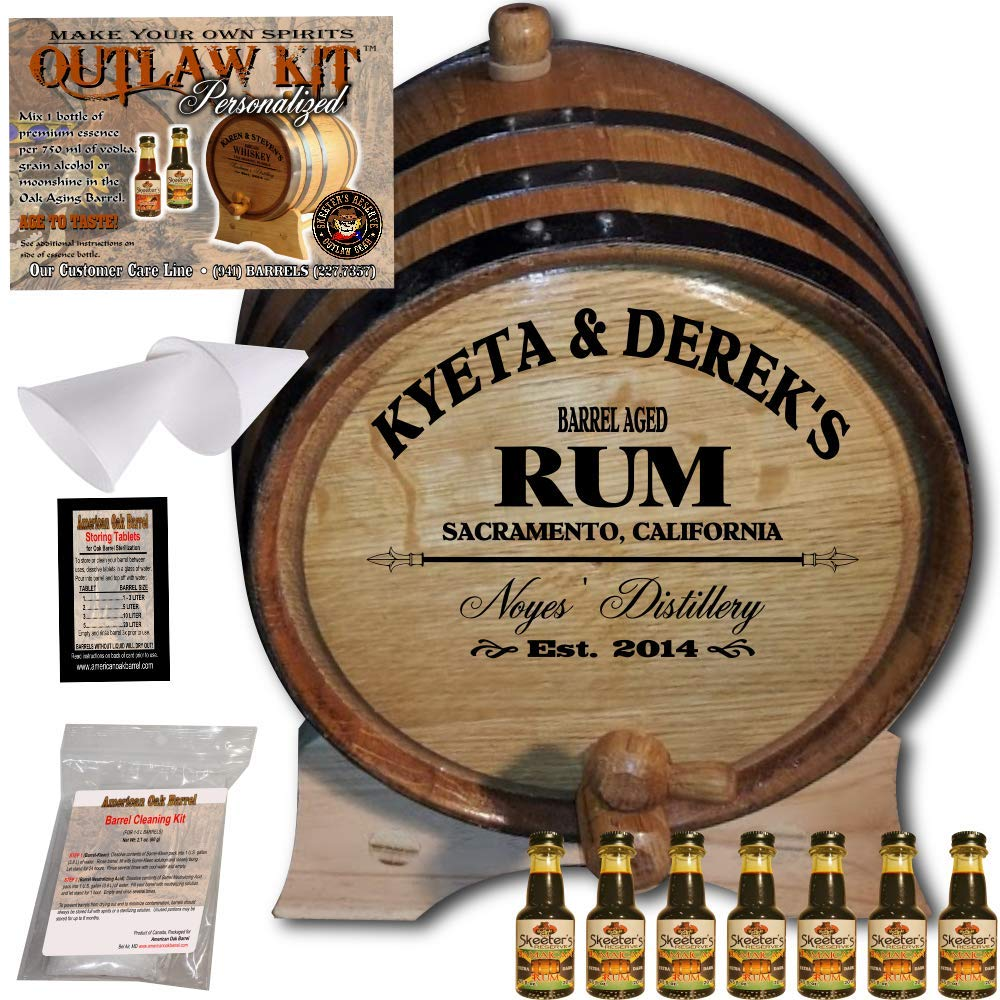 Personalized Rum Making Kit (060) - Create Your Own Dark Jamaican Rum - The Outlaw Kit from Skeeter's Reserve Outlaw Gear - MADE BY American Oak Barrel - (Oak, Black Hoops, 5 Liter)