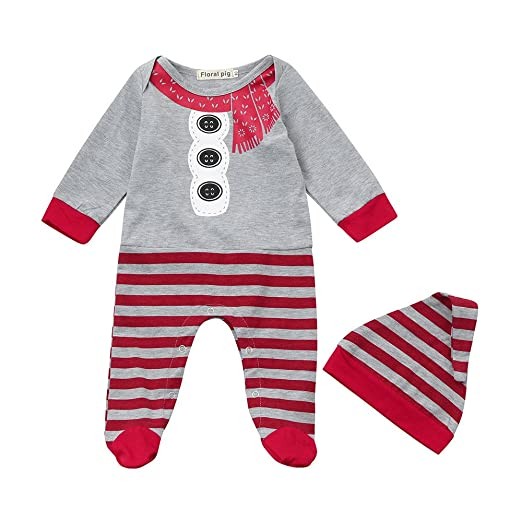 367e5f7880bf Amazon.com  Christmas 0-12 Months Newborn Baby Girls Boys Xmas Footies  Striped Rompers Jumpsuit+Hat 2Pcs Set Outfit Clothes  Clothing