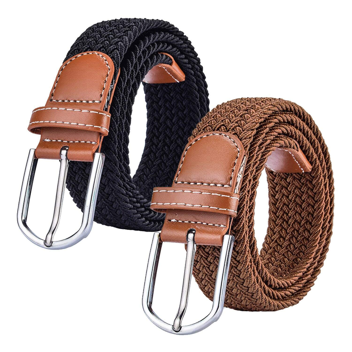 (2 pack) Womens Stretch Canvas Braided Belt - Women's Eslastic Woven Belts for Jeans B07CZ6B864