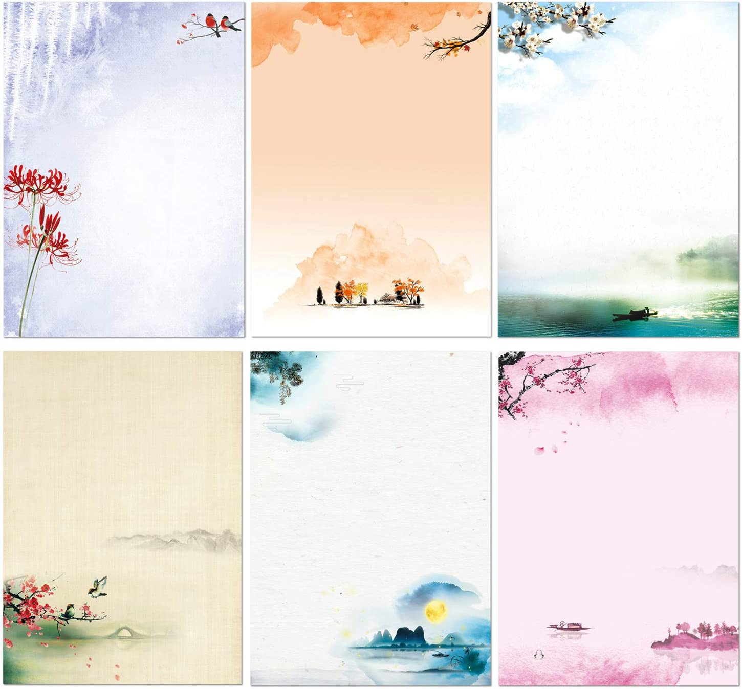 Stationary Set Japanese Stationery Letter Writing Paper, 48 Pack Stationary paper and envelopes set Ink Painting Design - 48 Stationary papers + 24 Envelopes : Office Products