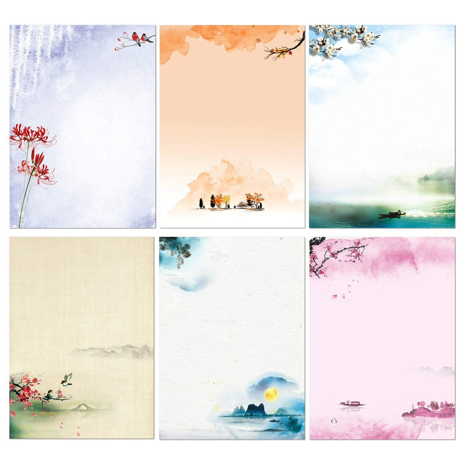 Stationary Set Japanese Stationery Letter Writing Paper, 48 Pack Stationary paper and envelopes set Ink Painting Design - 48 Stationary papers + 24 Envelopes by KiDEPOCH