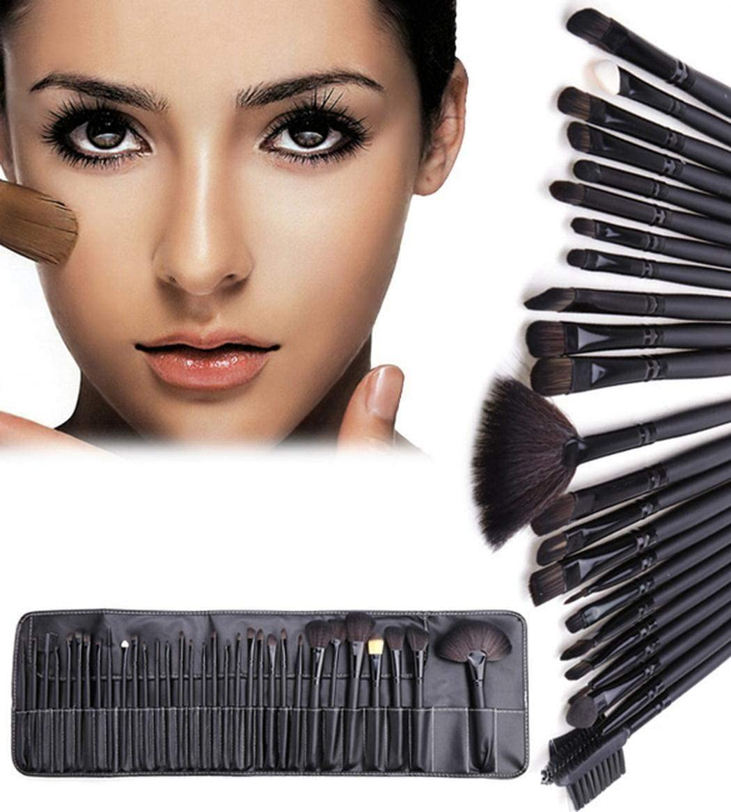 32 unidades. Juego de pinceles de maquillaje profesional, juego de pinceles de maquillaje mac negro con estuche: Amazon.es: Belleza