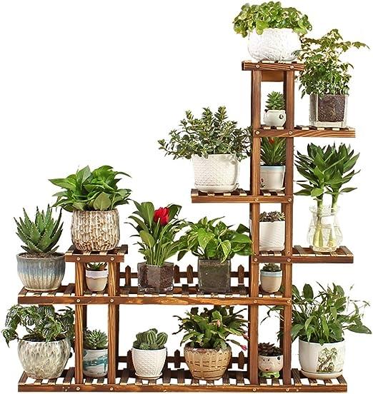 Life Pergolas - Estante de Madera con 6 Ruedas para macetas, para Interiores y Exteriores, Soporte para Flores, Color marrón (120 x 25 x 120 cm): Amazon.es: Jardín