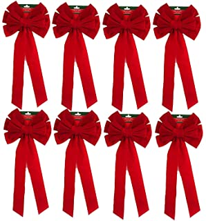 pack of 8 red velvet bow 26 long 10 wide 10 loop holiday - Red Christmas Bows