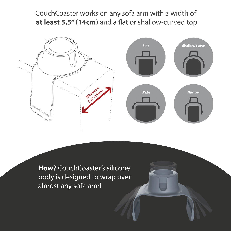 CouchCoaster, Posavasos de bebidas para sofá, Gris acero, 420mm x 147mm x 60mm