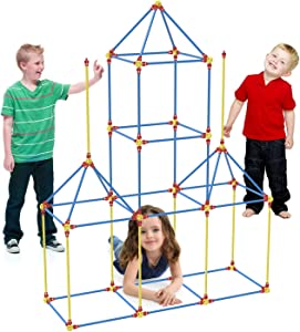 Funyole Fort Building Kit for Kids, 90 Pieces Flexible Construction Fort Set for Boys and Girls, DIY Building Castles Tunnels Tents Rocket and Play Kit Indoor & Outdoor