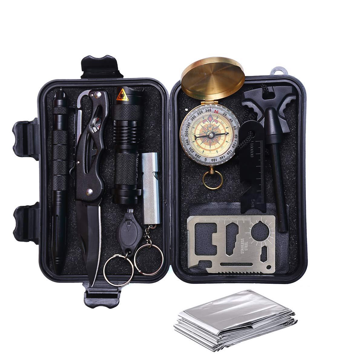 Anyeat Survival Kit, Außen Camping Survival Kit 9 in 1, Selbsthilfe Notfall Survival Kit Werkzeug NotÜBerlebens Camping Wandern Jagd Fahrzeug Werkzeuge Box Set