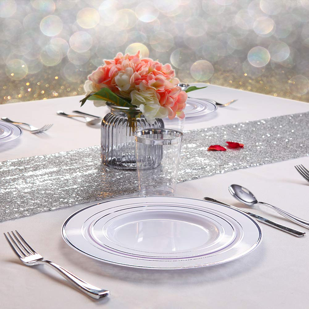 WDF 120PCS Silver Plastic Plates-Disposable Plastic Plates with Silver Rim- Plastic Wedding Party Plates including 60Plastic Dinner Plates 10.25inch,60 Salad Plates 7.5inch by WDF (Image #3)