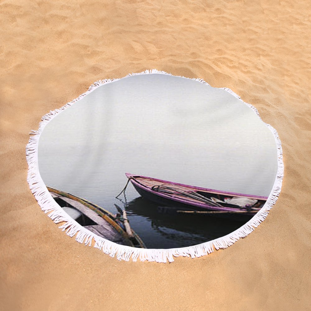 Pixels Round Beach Towel With Tassels featuring ''Row Boats In A River, Ganges River'' by Pixels