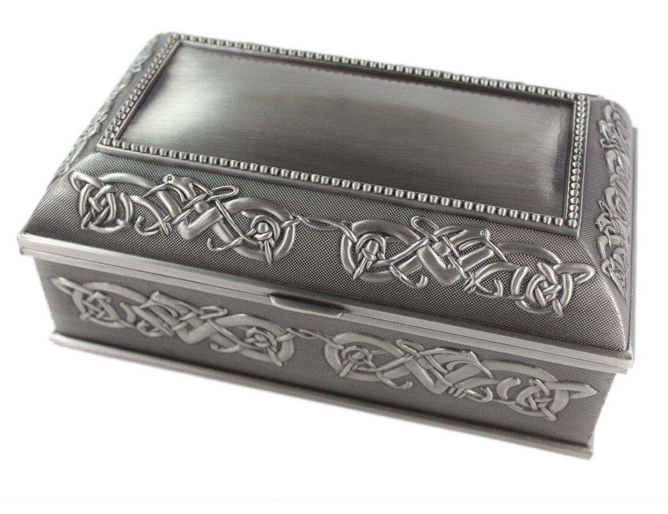 "Irish Jewelry Box Large 7"" x 4"" x 3 ¼"" Pewter Made in Ireland"