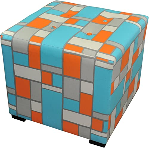 Sole Designs Abstract Square Merton Collection Blue Orange 4 Button Tufted Ottoman