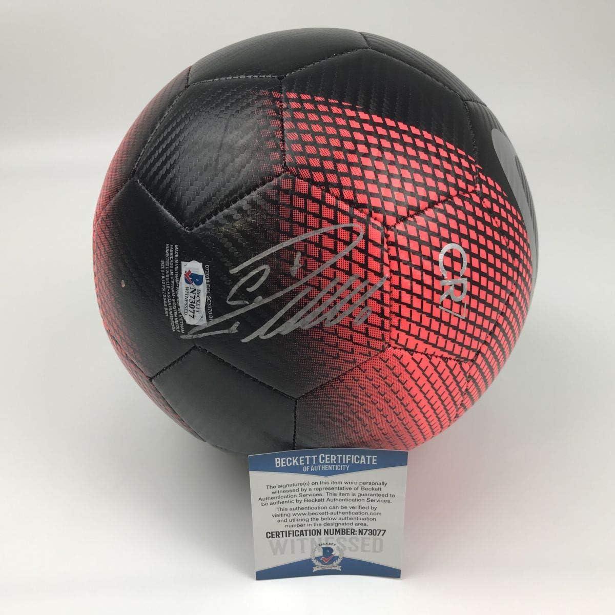 Autographed//Signed Cristiano Ronaldo Juventus Black//Red Soccer Ball Beckett BAS COA Auto