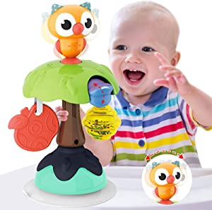 HISTOYE Owl High Chair Toys with Suction Cups for Baby Rattles Set 6 to 12 Months Developmental Baby Tray Toy Suction for Infants Toddlers 6 Months and Up Toys Gifts for 1 Year Old Girl Boy