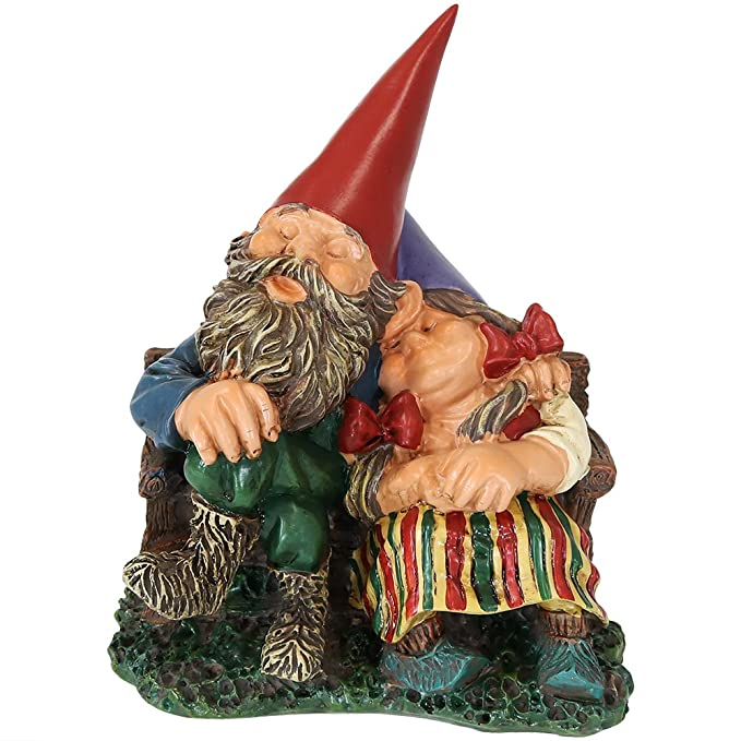 Sunnydaze Garden Gnome Couple Al and Anita on Bench, Outdoor Lawn Statue, 8 Inch Tall