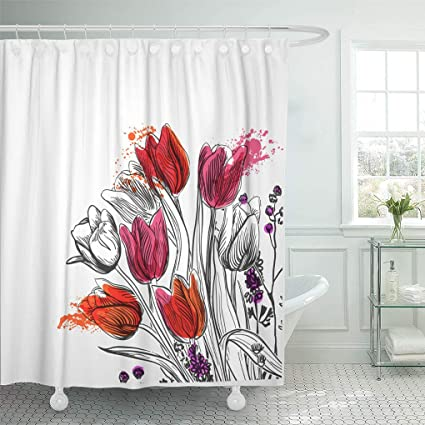 09d507ee3ab Image Unavailable. Image not available for. Color  Emvency Shower Curtain  Black Bouquet Tulips Simple White ...
