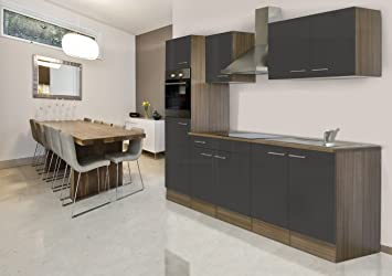 respekta Einbau Küche Küchenblock 270 cm Eiche York Nachbildung Grau ...
