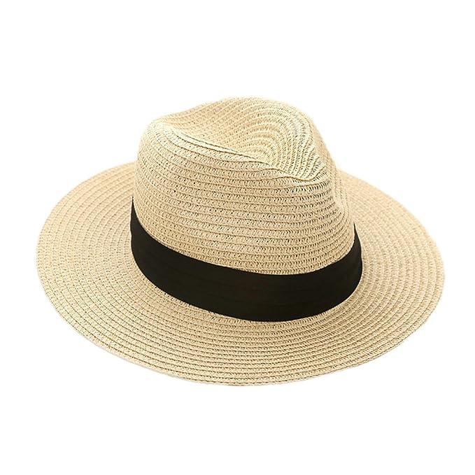2eb76dba39625 JLTPH Women Wide Brim Straw Panama Roll up Hat Fedora Beach Sun Hats UPF50+  (Beige