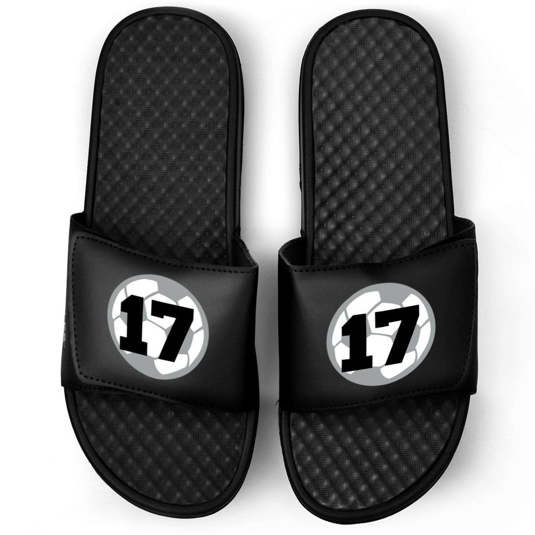 Customized Soccer Black Slide Sandals | Soccer Ball with Number | Size M10 | BLACK