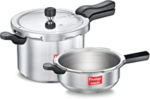 Prestige Svachh Combo Aluminium Pressure Cooker 5 Litre & 3 Litre with Induction Base