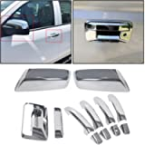 ECOTRIC Chrome Mirror+4 Door Handle+Tailgate+Camera Hole Covers Compatible with 2014-2018 Chevy Silverado GMC Sierra