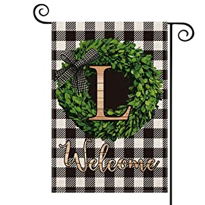 AVOIN Boxwood Wreath Monogram Initial Family Last Name L Garden Flag Vertical Double Sided, Welcome Buffalo Check Plaid Rustic Farmhouse Flag Yard Outdoor Decoration 12.5 x 18 Inch