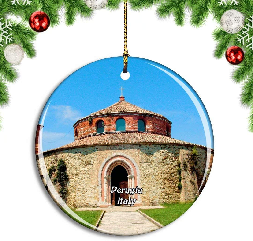 Weekino Italy Perugia Church Building Rotunda Christmas Xmas Tree Ornament Decoration Hanging Pendant Decor City Travel Souvenir Collection Double Sided Porcelain 2.85 Inch