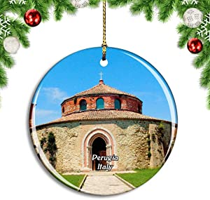 Weekino Italy Perugia Church Building Rotunda Christmas Xmas Tree Ornament Decoration Hanging Pendant Decor City Travel Souvenir Collection Double Sided Porcelain 2.85 Inch