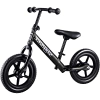 12 Inch Ultra Lightweight and Portable Kids Balance Bike Bicycles Outdoor (Black)