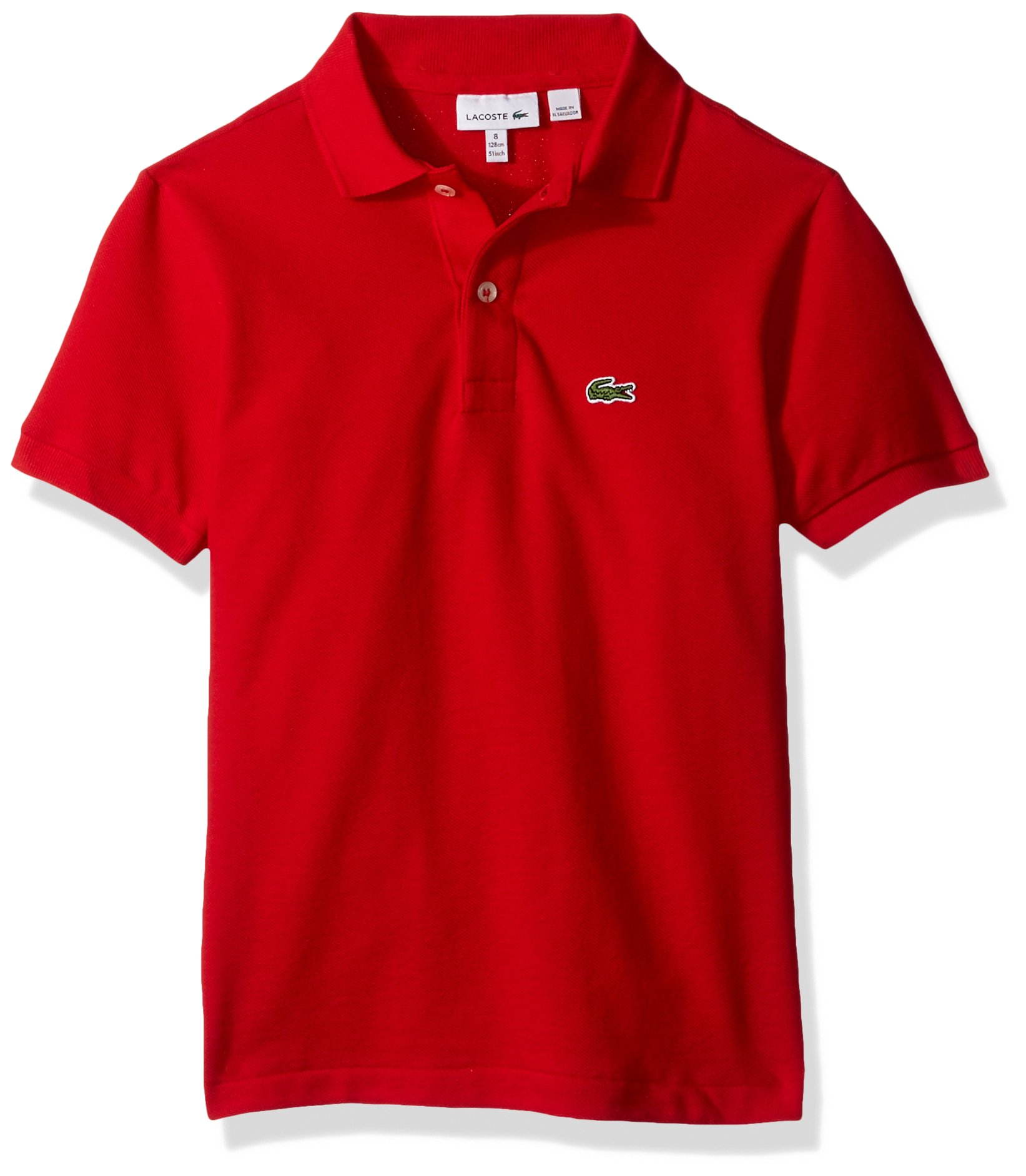 Lacoste Boys' Big' Classic Short Sleeve Petit Piqué Polo Shirt, Red, 10Y