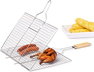 Deppon Portable Stainless Steel Large Grill Basket with Wooden Handle BBQ Grilling Cage Tools for Fish,Vegetables, Steak, Shrimp, Chops and Other Food, Nonstick (Silver)